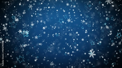Winter background with falling snowflakes and stars