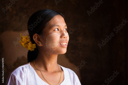 Myanmar girl looking up