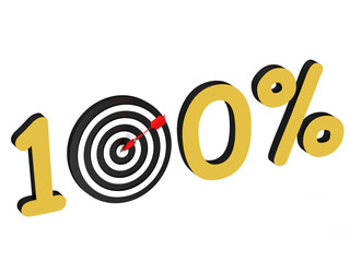 The number 100 percent with target