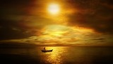 Sailing on a calm sea boat with a man of the golden sunset
