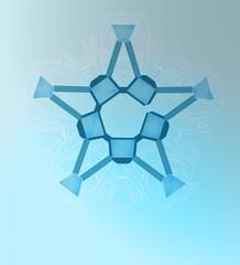 abstract pentagonal winter star line art vector template