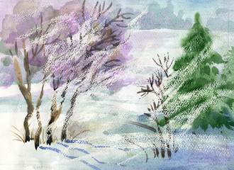 Watercolor Landscape Collection: Winter