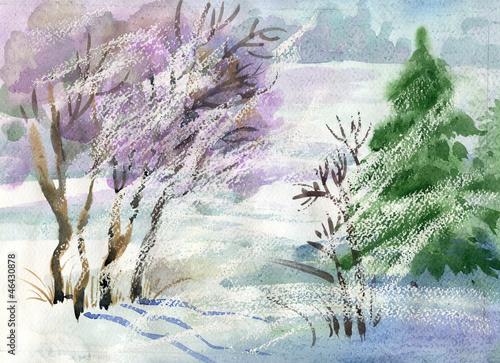Kolekcja Pejzaż akwarela: Winter