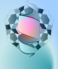 magic lighting diamond geometry with ribbon vector template