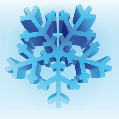 isolated three dimensional blue snowflake vector template