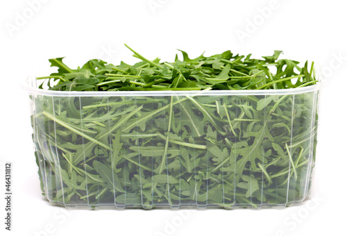 fresh rucola leaves isolated on white