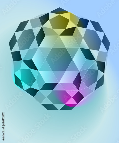 dimensional cubic diamond blue card vector template