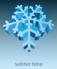 three dimensional snowflake blue winter card vector template