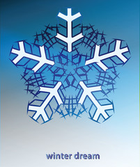 snowflake blue winter card vector template