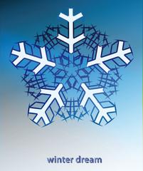 snowflake blue winter card vector template