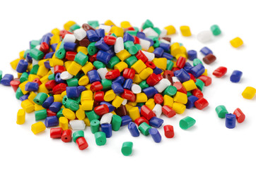 Pile of colorful plastic polymer granules