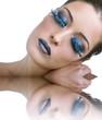 Beauty trucco blu con effetto acqua