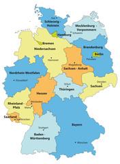 Deutschlandkarte cmyk farbig