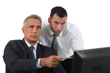 Businessmen at a computer