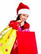 Christmas Shopping santa woman.
