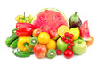 watermelon and a variety of fruits and vegetables