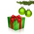 Grüne Christbaumkugeln mit Geschenk