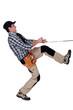 Handyman pulling a rope