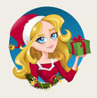 Vector illustration of a girl in santa outfit holding a present