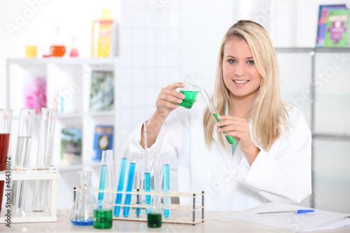 blond scientist in lab