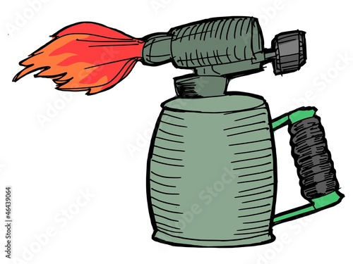 Illustration of the blowlamp with opened flame