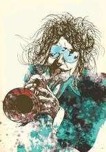 Musiker, Trompeter. Hand-Zeichnung in Vektor