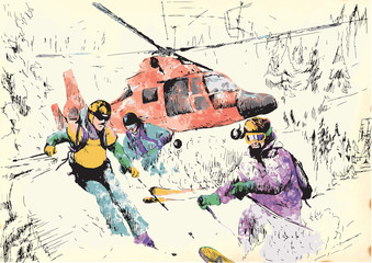 skiers - hand drawing