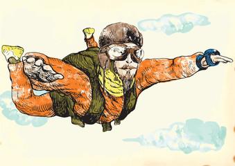 Skydiving, parachutist. Hand drawing into vector