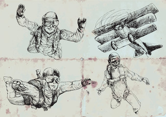 skydivers - collection of hand drawings