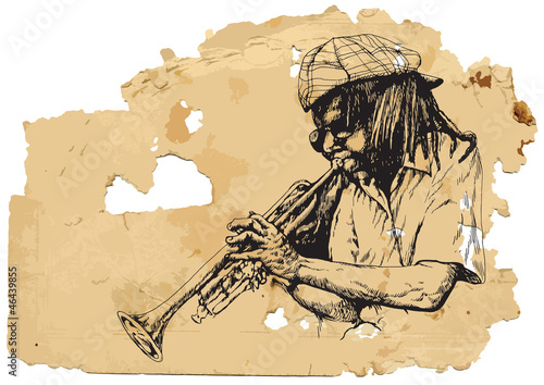Musician, trumpeter. Hand drawing into vector
