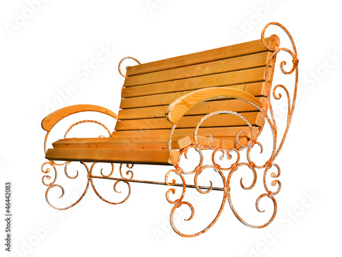 Park bench isolated on white (with clipping path)