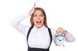 shocked businesswoman holding alarm clock