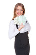 woman holding paper money and smiling
