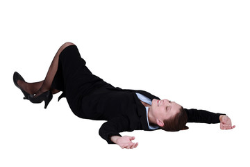 Businesswoman lying on the floor