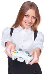 attractive woman playing in video game