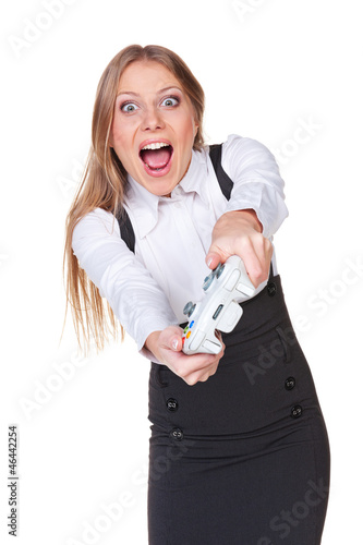 emotional woman playing video game