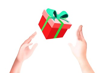A Present with Green Ribbon Falling Down on Hands
