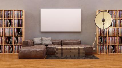 Apartment im Vintage Loft Stil Leder Sofa leinwand Vinyl Regal