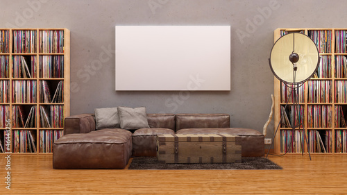 Illustration: Apartment im Vintage Loft Stil Leder Sofa leinwand Vinyl ...