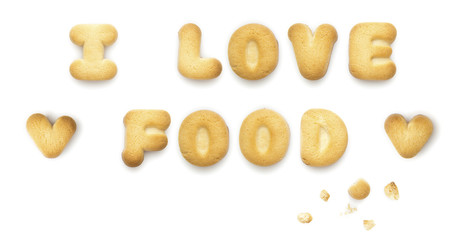 "Sentence ""I LOVE FOOD"", made of cookies, isolated"