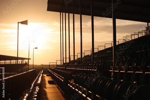 Foto op Aluminium Stadion Symmetrical grandstand seating at dusk