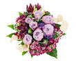 colorful floral bouquet of roses, lilies and orchids isolated on