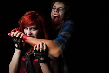Vampire Female About To Bite Male Victim