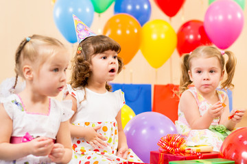 funny children on birthday party