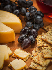 Cheese, Crackers, Grapes and Wine
