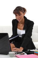 Woman preparing her presentation for a conference