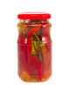 pickled peppers in glass jar isolated on white
