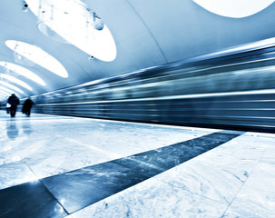 public metro marble station with fast blurred trail