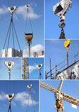 Fototapety Montage of construction cranes