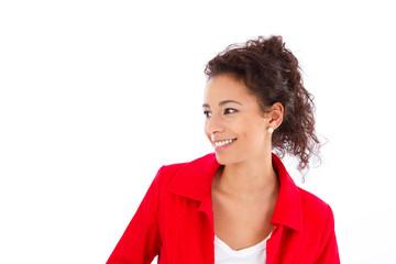 Hübsche junge Frau mit rotem Blazer